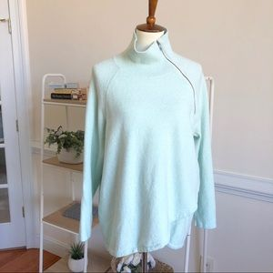 Soft Surroundings pistachio mock neck zip sweater